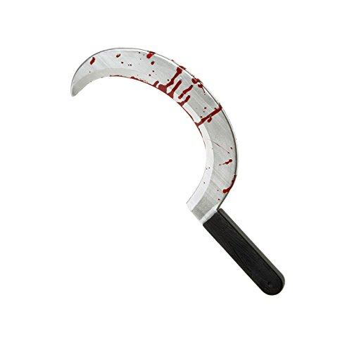 Halloween, blutige Sichel oder blutige Sense, Größe ca. 45,5 cm, für Skull-Kostüm oder Sensemann
