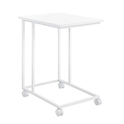 [en.casa] Couchtisch mit Rollen Weiß Tisch Beistelltisch Rollbar 50x35x60cm Wohnzimmertisch Sofatisch Rolltisch