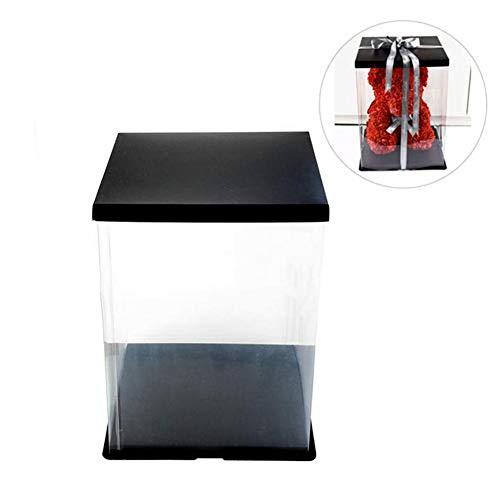 Transparente Geschenkbox, transparente Geschenkboxen, Rosenbär, Blume, transparente Geschenkbox, für Hochzeit, Geburtstag, Süßigkeiten, Cupcakes, Schmuck, 20 cm/25 cm/35 cm, bunt, C:30 * 30 * 42cm