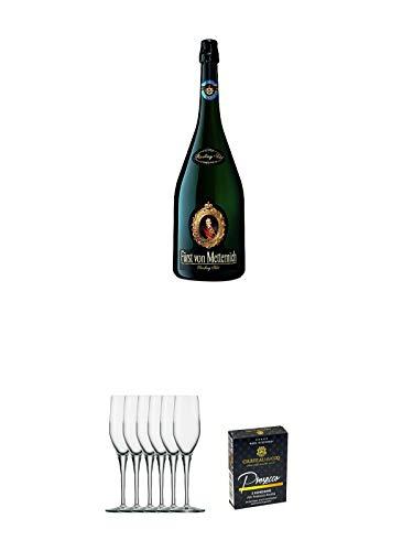 Fürst von Metternich Riesling Sekt Trocken Deutschland 1,5 Liter + Stölzle Exquisit Sektkelch 6er Pack + Chateau du COQ Prosecco Kondom 3er Packung