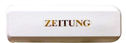 Zeitungsbox Zeitungsrolle weiß mit selbstklebendem Schriftzug gold 'Zeitung' nicht rostend...