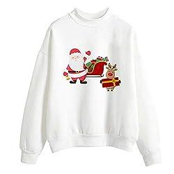 VEMOW Heißer Herbst Winter Damen Frauen Weihnachten Tag Drucken Langarm Damen Bluse Pullover Täglichen Party Freizeit Tops Shirt Sweatershirt(Weiß 10, 34 DE/S CN)