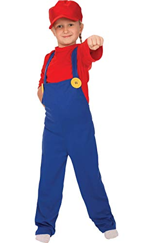 Child boys girls super plumber 80s party game outfit fancy dress costume large