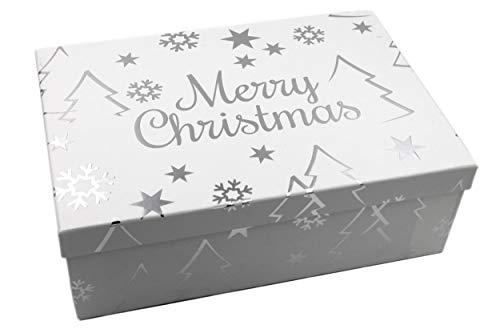 Geschenk-Box weiß Silber, Merry Christmas mit Metallic-Effekt, 23,5x15x8,5cm, 479, Größe&Farbe wählbar, Weihnachten Kiste Karton aus Pappe