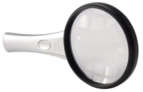 Preisvergleich Produktbild Hand Held leicht Dual Lupe mit 2 LED Lampen – Silber-Schwarz,  unisex,  Hand Held Dual,  Silver-Black