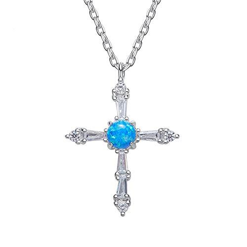 NIMUIL Damen Opal Kette 925 Sterling Silber Charms Kreuz Kettenanhänger Silberkette mit 45 cm Einstellbar Kette und Hübschen Geschenk Box