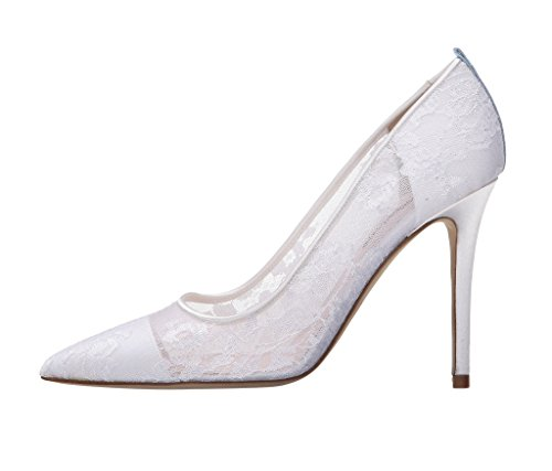 EDEFS Damen Geschlossene Zehen Hoch Absatz Pumps Blumen Lace Damen Brautschuhe Weiß