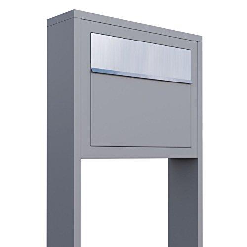 Standbriefkasten, Design Briefkasten Elegance Stand Grau Metallic/Edelstahl - Bravios