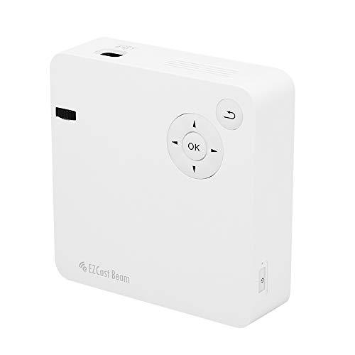 Docooler EZCast Beam J2 Mini DLP-Projektor WiFi Portable Video Projektor 150 Lumen ANSI Wireless Display für Home Cinema Miracast Spiegel Lautsprecher 3000 mAh Akku wiederaufladbar (Mini-video-beam Projektor)