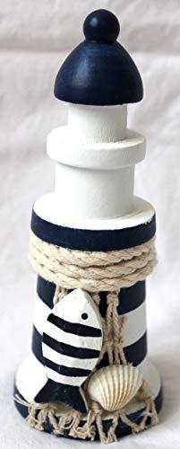 Deko Leuchtturm Holz 15cm maritim dekoriert Serie STRAND -