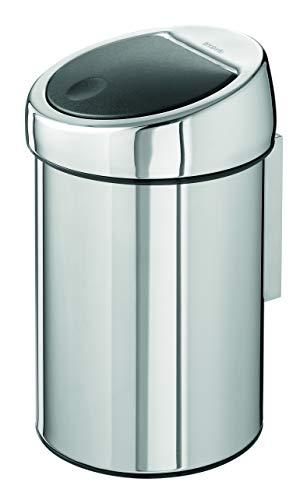 Brabantia Touch Bin - Cubo de Basura, 3 litros, Cubo Interior de plástico extraíble, Acero Brillante...
