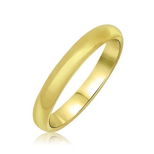 Goldring 585 Gold Massiv Gelbgold 14 Karat Damen - Band - Ring Vorsteckring Verlobungsring - Gr 48-62 3 mm (62 (19.7))