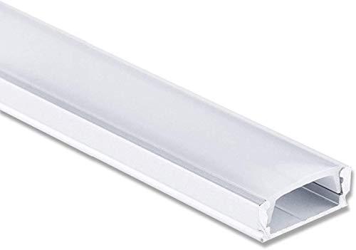 LED Profil Aluminium 2 Meter - Aluprofil für LED Stripes/Streifen Abmessung: 2000mm x 17mm x 7mm ALU Leiste (Alu Profil silber inkl. milchiger Abdeckung für LED Stripe - indirekte Beleuchtung)