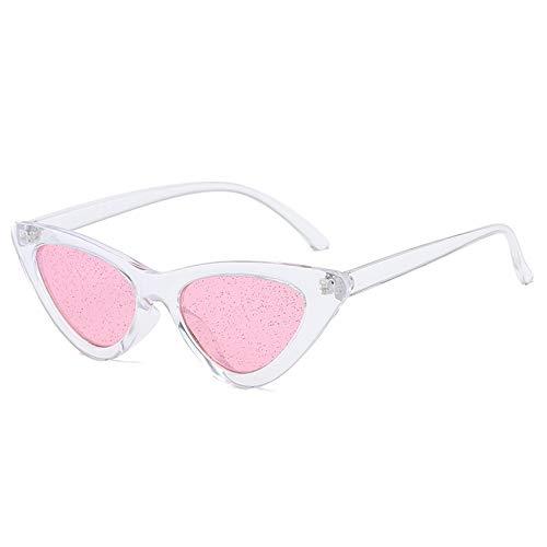 YYXXZZ Sonnenbrillen Glitter getönte Brillengläser Damen Brille transparent Cat Eye Frame, Weiß Rosa