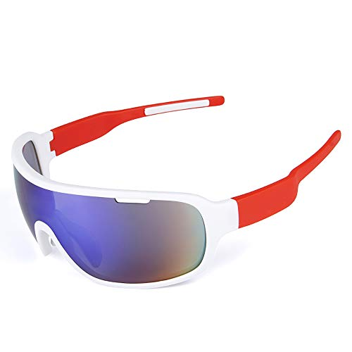 Radsport-Ausrüstung POC Fahrrad Gläser Mit Polarisiertem Outdoor-Reitspiegel REIT Brille,Whitered