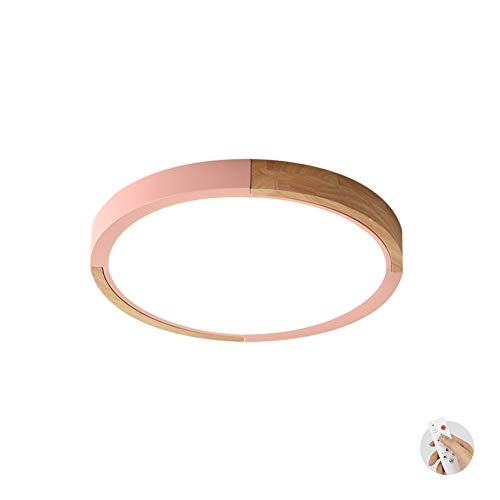 CUICANH Moderner Deckenleuchte, 24w Ultra-dünne Dimmbar Kreativ Nordische Metal Holz Deckenlampe Schlafzimmer Studie Kinderzimmer Lampen-rosa-dimmbar 40x5cm -