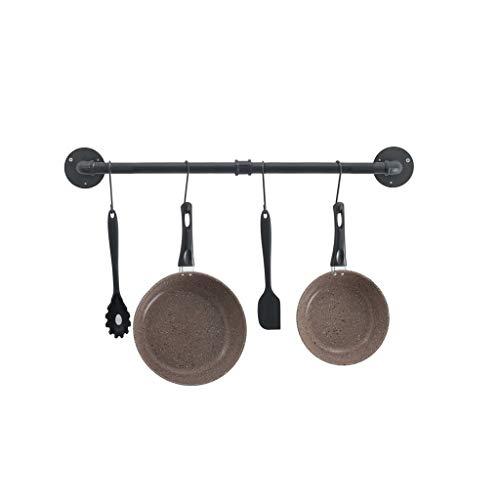 Küchenregale 120 cm Wandregal Metalltopfgestell Wand Bücherregal schwarz Mit 8 S-förmigen abnehmbaren Haken Kochgeschirrständer aus massivem Eisen