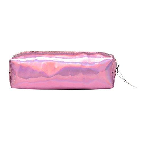 WidewingKosmetiktasche Damen Reisen Waschtasche Portable Holographic Federmäppchen Makeup Handtasche Halter Geldbörse/Pink