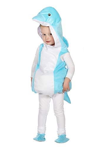 6 türkis-weiß Kinder Mädchen Junge Delphin Weste-Kostüm Gr.86 ()