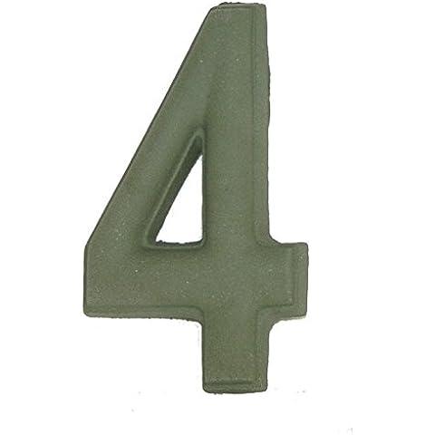 Numero Civico 4 Ceramica In Gres - Colore Verde Smeraldo Naturale cm11x6 h1,5
