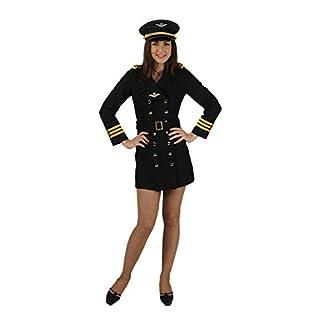 Pilotin Stewardess Kostüm Svenja für Damen - Schwarz/Gold Gr. XL