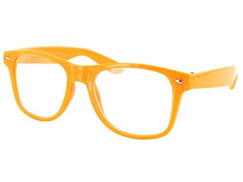 Alsino Farbige Atzen Wayfarer Brille Nerd klar V-816E, Farbe wählen:V-816E orange