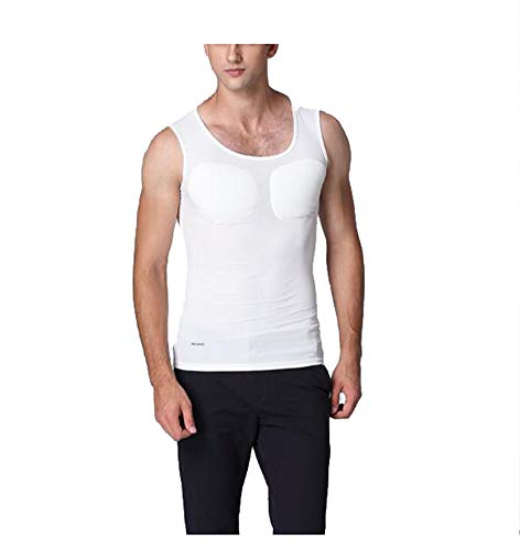 (Jolie Gefälschtes Muskel-T-Shirt Herren Unsichtbar Fälschung Brustmuskel Schlank Unterwäsche Kreatives Shirt,White,S)