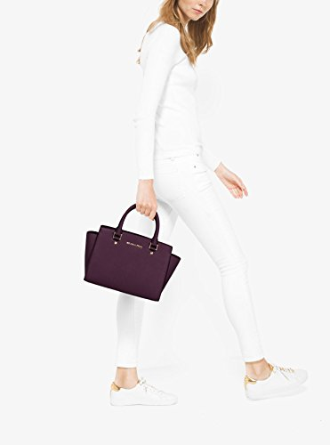 Michael Kors Selma Saffiano Leather Medium Satchel, Borsa Tote Donna, 10 x 20 x 33 cm (W x H x L) Viola (Damson)