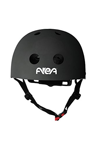 AREA Casco Skateboard testato a norma CEE esterno in ABS interno in EPS con anello di microregolazione (Nero, Large 58-60 cm)