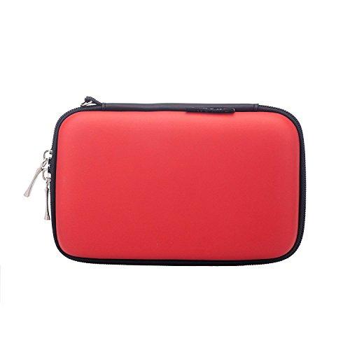 BAIGIO Petit sac Organisateur de câbles électroniques Sac de clés d'USB Sac de voyage Rangement d'accessoires électroniques pour voyage avec fermeture éclair 2,5 Pouces, Rouge