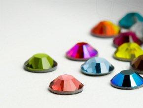 Swarovski Strasssteine Hotfix Elements | SS 6 (2.0mm), Colormix, 25 Stück - Tasche Wildleder Leder Nagel