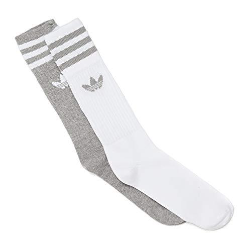 adidas Originals Socken Doppelpack SOLID CREW 2PP DW3934 Weiß Grau, Size:43/46 -