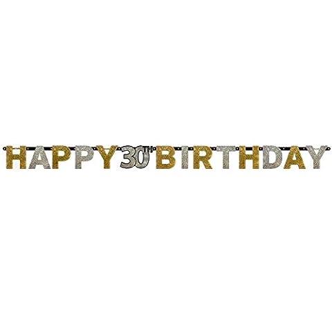 Amscan 1202072,4m x 16cm gold Celebration 30. Happy Birthday Prismatischer Buchstabe Banner