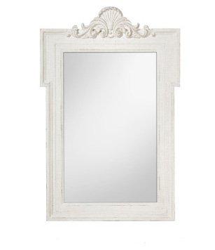 Specchiera di legno bianca stile vintage con fregio in rilievo L'ARTE DI NACCHI NT-38
