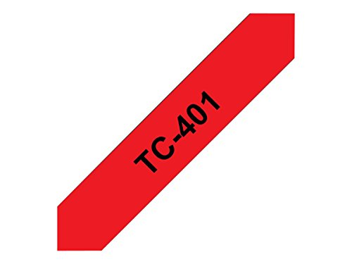Brother TC401 Schriftbandkassette 7,7m 12mm schwarz/rot für P-touch 8e 500 II 2000/3000/5000 (P-touch Rot)