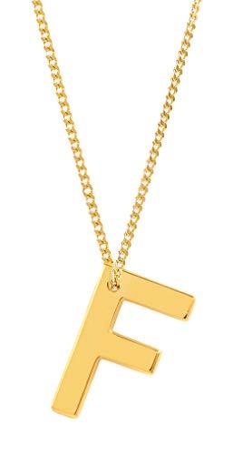 Charlotte Wooning Halskette Buchstabe F - Buchstabenkette für Damen aus 925 Silber vergoldet - NABCFg