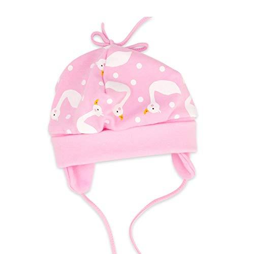 Baby Sweets Baby Mütze Mädchen rosa | Motiv: Schwan | Babymütze zum Binden für Neugeborene & Kleinkinder | Größe: 6 Monate (68)