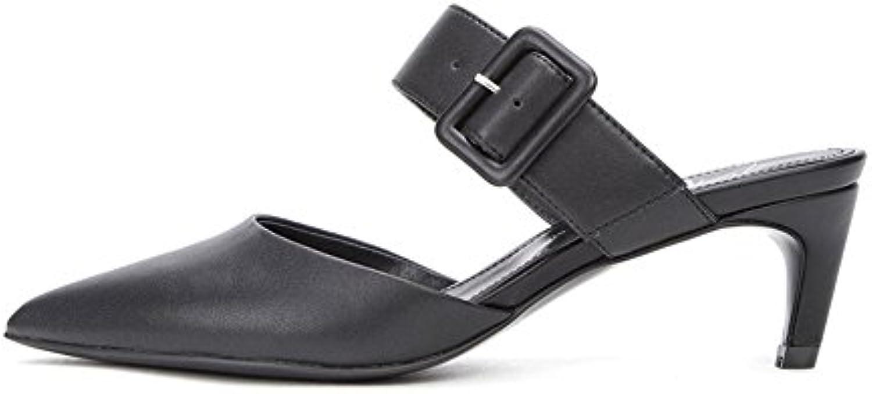 WYYY - Zapatos de tacón alto para mujer después del espacio fino con boca poco profunda, zapatos casuales de 6...