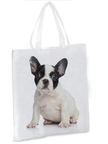 Einkaufstasche / Tragetasche / Shopper / mit Henkeln - 38x42cm - Motiv: Französische Bulldogge weißer...