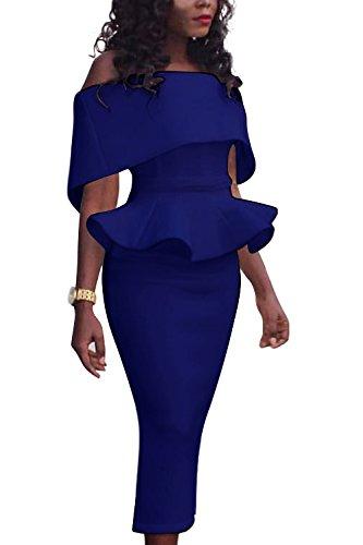Frauen Aus Schulter Elegante Verstimmen Bodycon Ol Kleid Blue