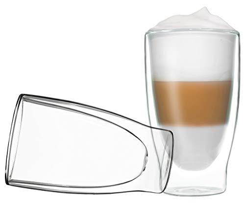 2 x 400 ml Double Paroi - Verres à Cappuccino Verres, thermique Effet de suspension, convient également pour Latte Macchiato, Thé, Cocktails, glaces, jus, eau, Cola, desserts, etc., duos by Feelino, Verre, 400 ml