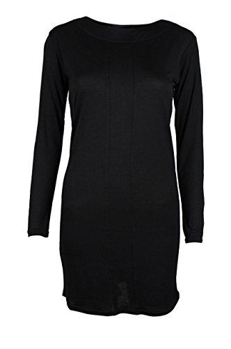 trueprodigy Casual Damen Marken Long Sleeve Kleid einfarbig Basic, Oberteil cool und stylisch mit Rundhals (Langarm & Slim Fit), langes Langarmshirt für Frauen in Farbe: Schwarz 1073546-2999 Black