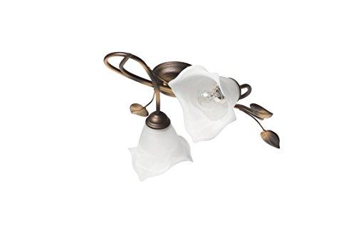 Florale Deckenleuchte (B40cm, Floral, Jugendstil, Weiß, Gold, Blütenkelch, Blütendeko, 2-flammig)...