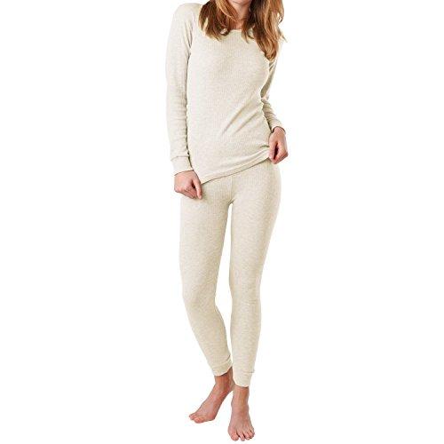 MT® Damen Thermo Unterwäsche Set - warm, weich und atmungsaktiv - Ecru-L