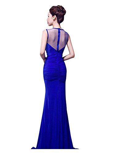 Beauty-Emily Rhinestone sehen durch Falten Ruching Bodycon Kleid Königsblau