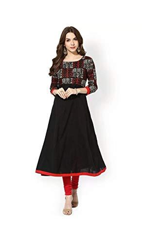 Aarna Fashion Women's Black Cotton Anarkali Kurti