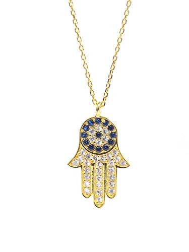 Remi Bijou - 925 Sterling Silber Halskette Kette + Anhänger - Fatimas Hand Hamsa Buddha Hand - Auge Nazar Boncuk Evil Eye Geschenk (Gold)