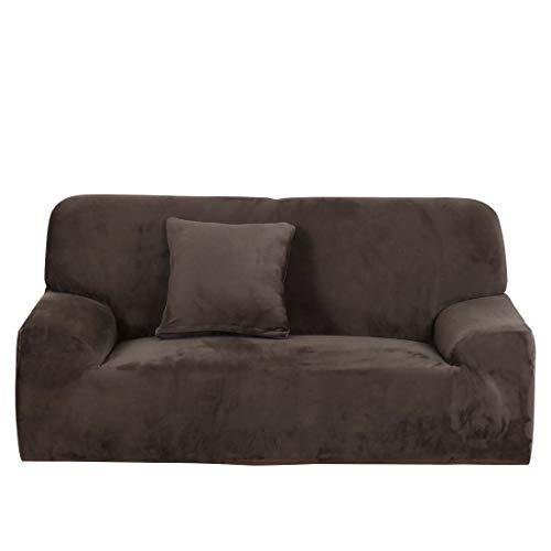 DEEN, copridivano in Velluto Felpato Loveseat, copridivano Spesso da 1 a 2 3 4 posti, Colore Puro, Velluto, Coffee, Sofa-3 Seats:195-230cm