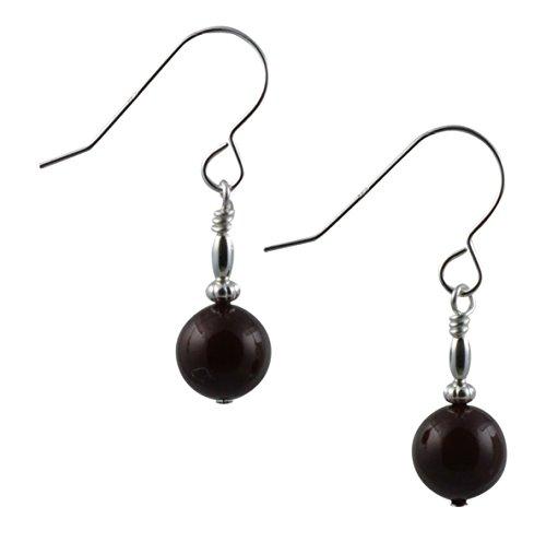 Maroon Swarovski Glas Perle Sterling Silber Ohrringe mit Geschenk-Box