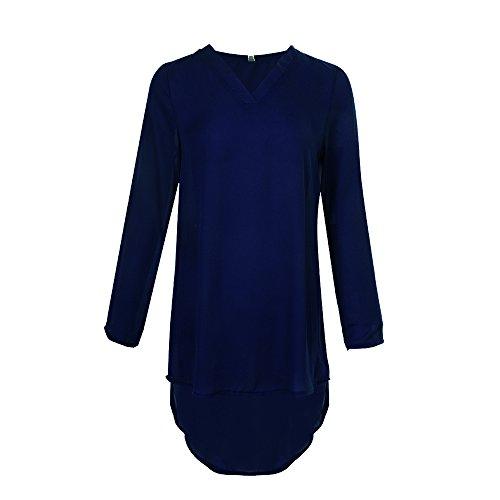 Shujin Damen Herbst Chiffon Hemdkleid Bluse Langarm Shirt V Ausschnitt Asymmetrisch Vorne Kurz Hinten Lang Mini Shirtkleid Casual Tunika
